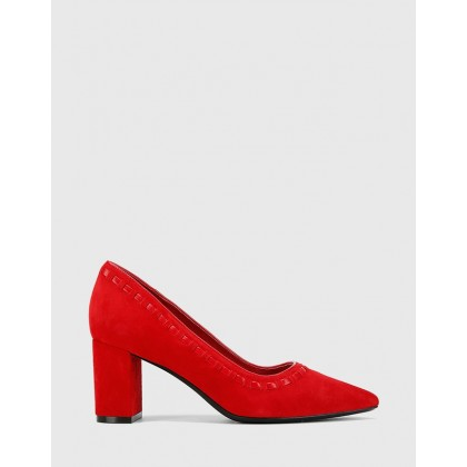 Dallory Suede Point Toe Block Heels Red by Wittner