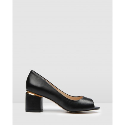 Danika Mid Heels Black Leather by Jo Mercer