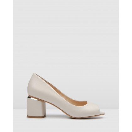 Danika Mid Heels Bone Leather by Jo Mercer