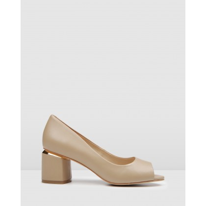 Danika Mid Heels Beige Leather by Jo Mercer