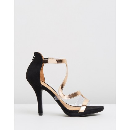 Danna Evening Sandals Black & Rose Gold by Vizzano