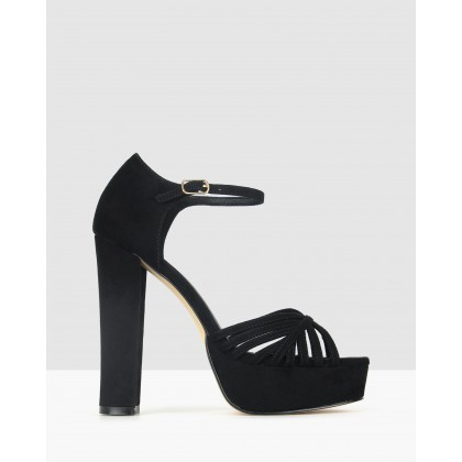 Daphnee Platform Block Heel Sandals Black by Betts