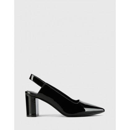 Daveen Pointed Toe Block Heel Slingbacks Black by Wittner