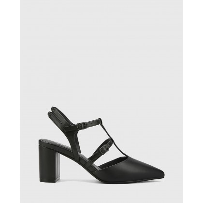 Davor Leather Pointed Toe Block Heels Black by Wittner