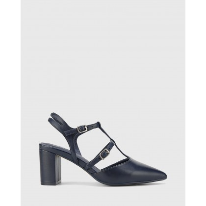 Davor Leather Pointed Toe Block Heels Navy by Wittner