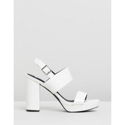 Dawn Platform Heels White Croc Patent by Dazie