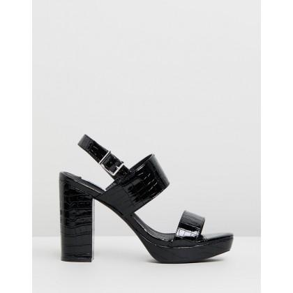 Dawn Platform Heels Black Croc Patent by Dazie