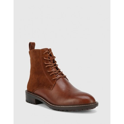 Dean Suede Leather Lace Up Flat Boots Brown by Wittner