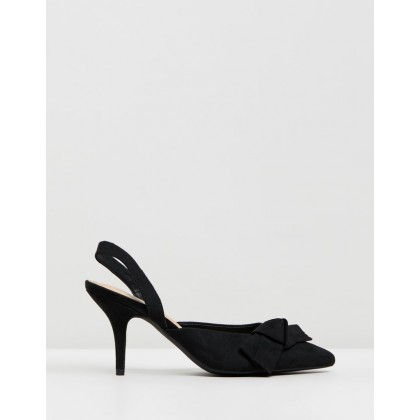 Debbie Heels Black Microsuede by Spurr