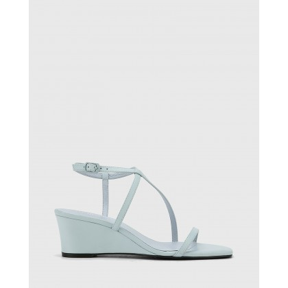 Decker Nappa Leather Wedge Heel Sandals Blue by Wittner