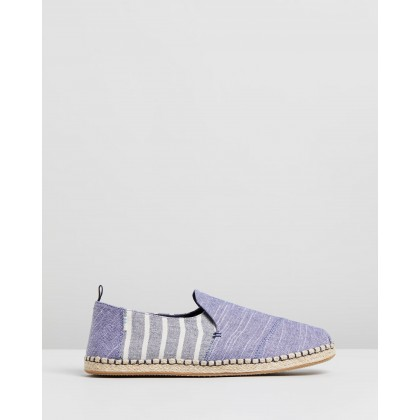 Deconstructed Alpargata - Men's Navy Rugged Stripe by Toms