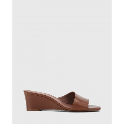 Delaney Leather Wedge Heel Slides Brown by Wittner