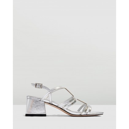 Delia T-Bar Sandals Silver by Topshop