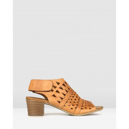 Delicious Cut Out Leather Sandals Tan by Airflex