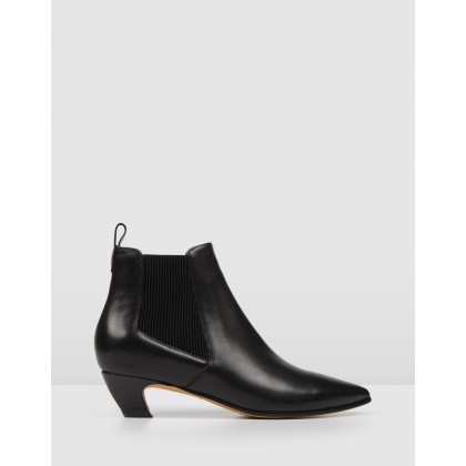 Della Ankle Boots Black Leather by Jo Mercer
