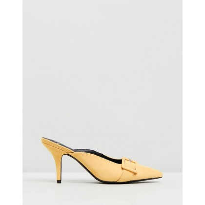 Della Heels Yellow Microsuede by Spurr