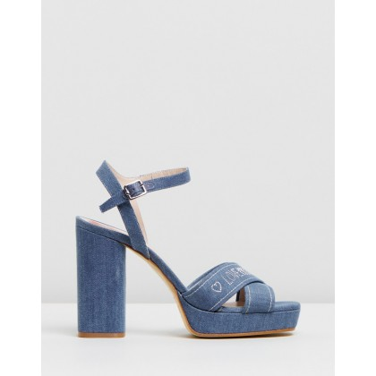 Denim Platform Heels Blue Denim by Love Moschino