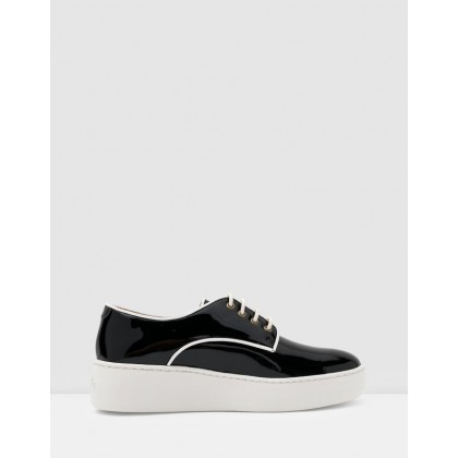 Derby City Shoes Black Patent & White Piping by Rollie