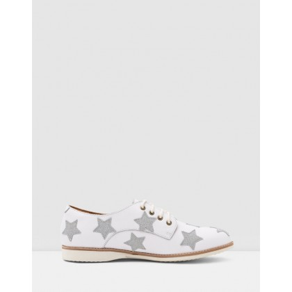Derby Shoes White & Silver Stars by Rollie