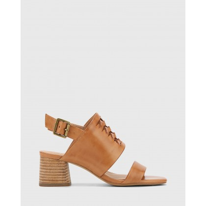 Devanti Leather Plaited Front Block Heel Sandals Tan by Wittner