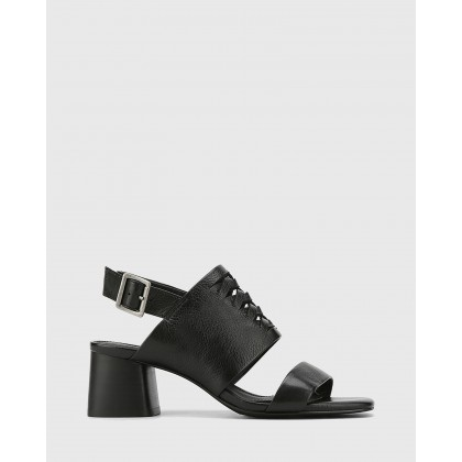 Devanti Leather Plaited Front Blocked Heel Sandals Black by Wittner