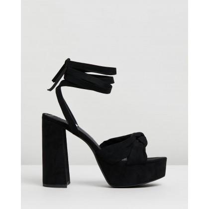 Devon Platform Heels Black Microsuede by Dazie