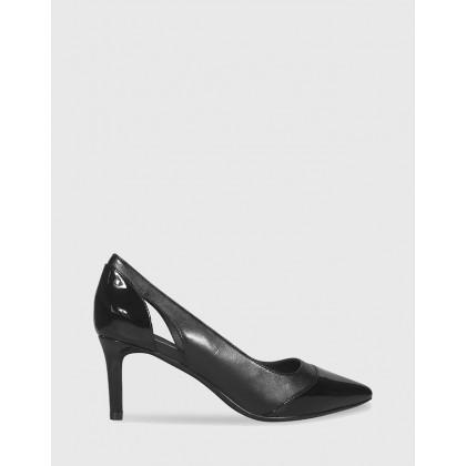 Dewan Pointed Toe Kitten Heels Black by Wittner