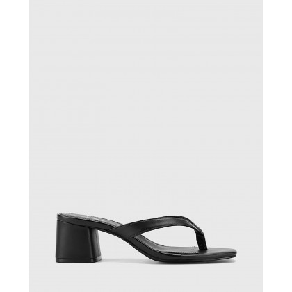 Dex Block Heel Thong Sandals Black by Wittner