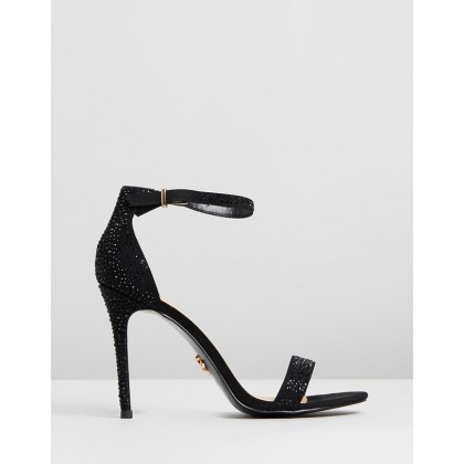 Diamante Barely There Sandals Black by Lipsy