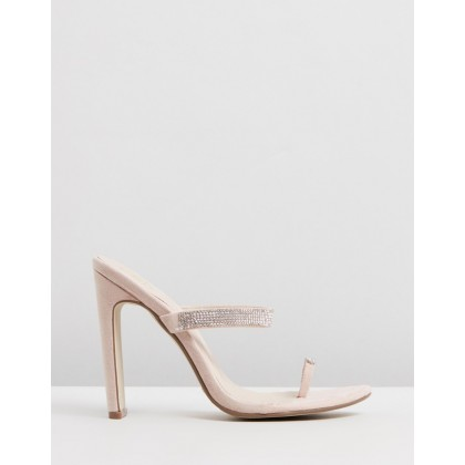 Diamante Toe Post Heels Nude by Missguided