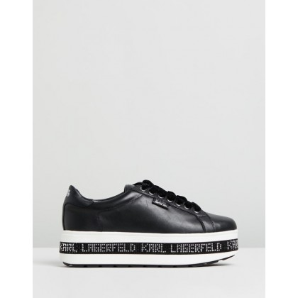 Digi-Karl Leather Lace-Up Sneakers Black by Karl Lagerfeld