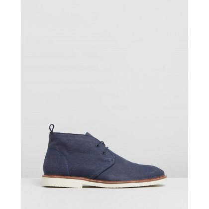 Dillon Canvas Desert Boots Navy by Staple Superior