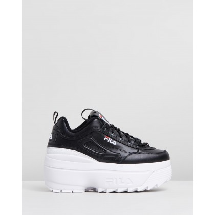 Disruptor II Wedges Black, Fila Red & White by Fila