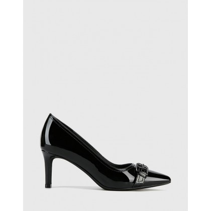 Downton Patent Leather Buckle Stiletto Heels Black by Wittner
