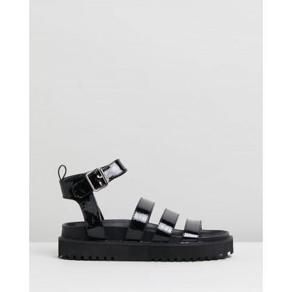 Drew Sandals Black Croc Patent by Dazie