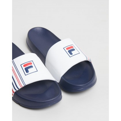 Drifter Stripe Slides - Men's Fila Navy, White & Fila Red by Fila