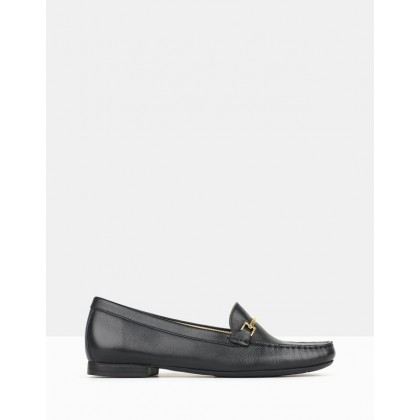 Dublin Gold Trim Loafers Black by Airflex
