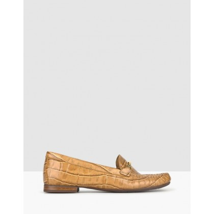 Dublin Gold Trim Loafers Tan Croc by Airflex