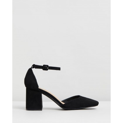 Earnest Heels Black Microsuede by Spurr