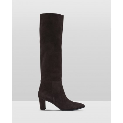 Eason Slouch Boots Chocolate by Oxford