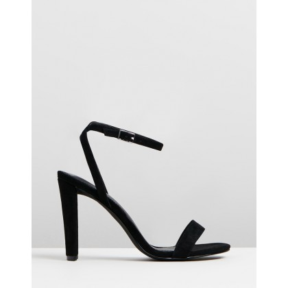 Echo Block Heels Black Suede Plain by Atmos&Here