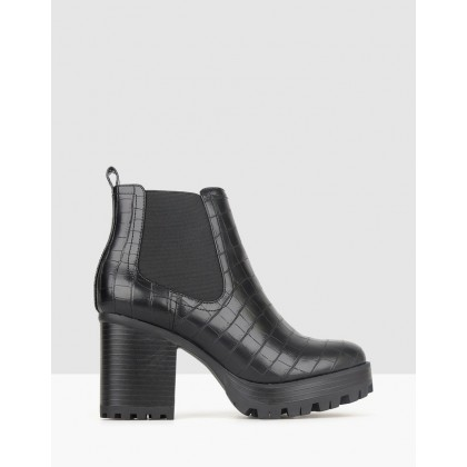 Edge Chunky Ankle Boots Black Croc by Betts