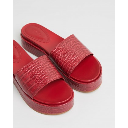 Edi Croc Effect Sandals Red by M.N.G