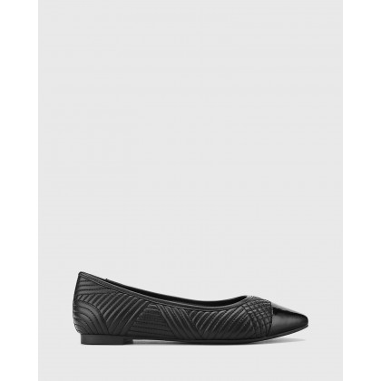 Egan Leather & Patent Slip On Flats Black by Wittner