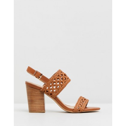Elah Block Heels Tan Woven by Spurr