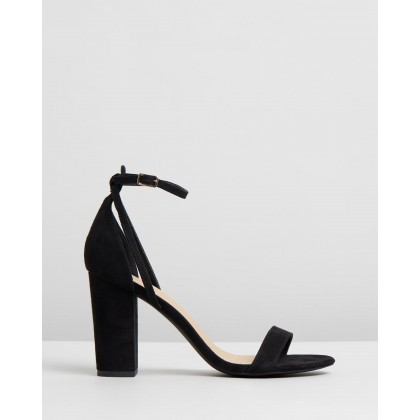 Eleni Block Heels Black Microsuede by Spurr
