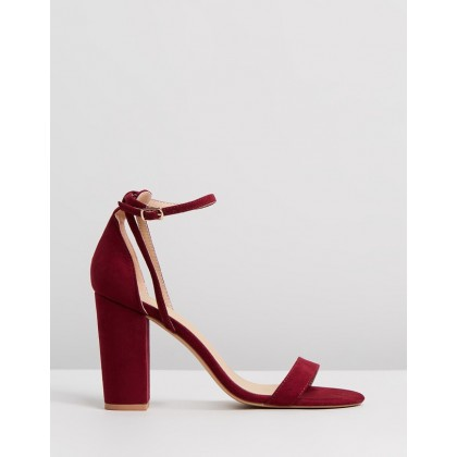 Eleni Block Heels Burgundy Microsuede by Spurr