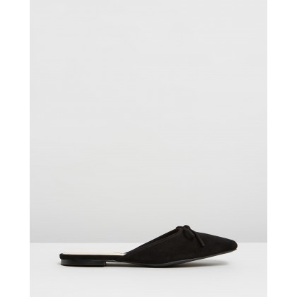 Elin Leather Ballet Mules Black Suede by Atmos&Here