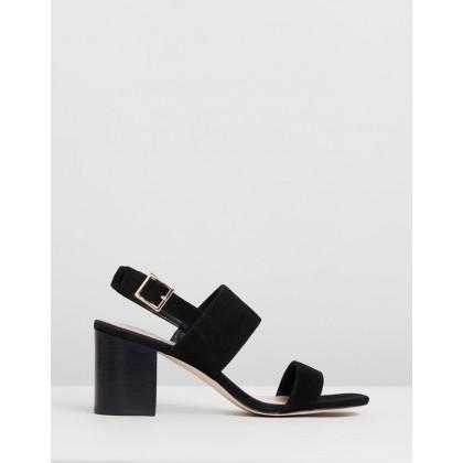 Elle Leather Heels Black Suede by Atmos&Here