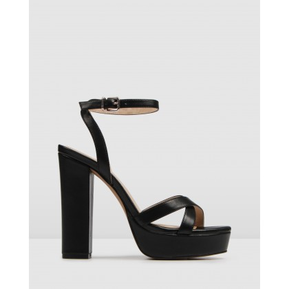 Elli High Heel Sandals Black Leather by Jo Mercer